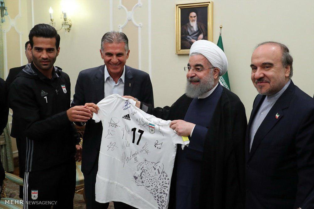 President Rouhani gives Iran national football team welcome