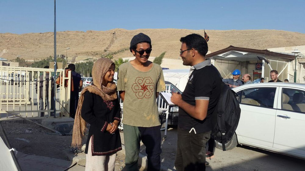 Japanese couple in Kermanshah to help quake-hit people