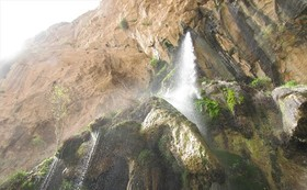 Unique waterfall of Shahlolak in Chermahin