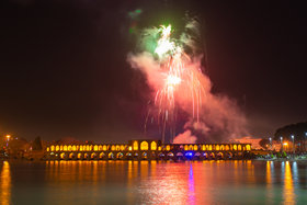 Fireworks in night sky of Isfahan