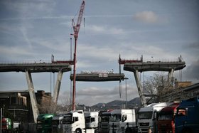 A section is removed from the collapsed Morandi bridge