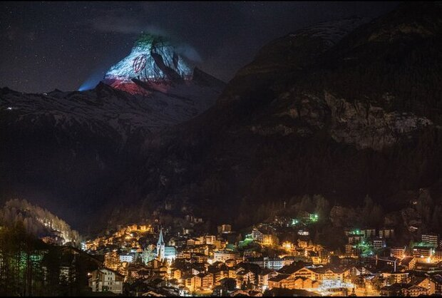 Iranian flag projected on Matterhorn in message of hope